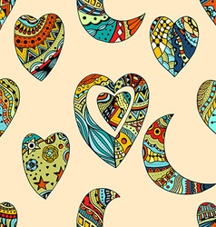 pattern of Tangle Patterns hearts and crescent vector image vector image