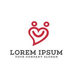people love logo smile logo design concept vector image