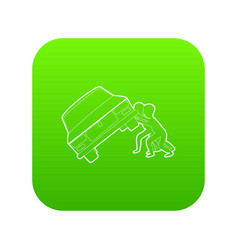 People overturned car icon green vector