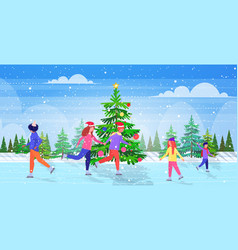 People skating on frozen lake ice rink winter vector