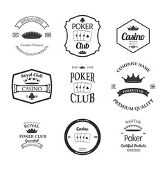 poker club and casino emblems set isolated vector image