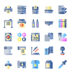 Printer and plotter flat icons vector