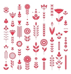 red flower set pattern vector image