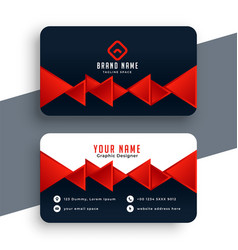 Red triangles modern business card template design vector