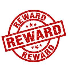 Reward round red grunge stamp vector