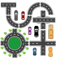 Road set for designing traffic intersections The vector