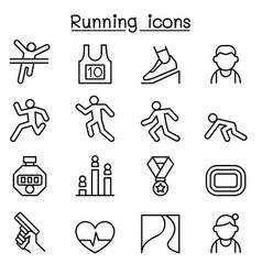 Running icon set in thin line style vector