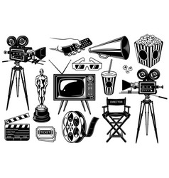 Set cinema objects vector