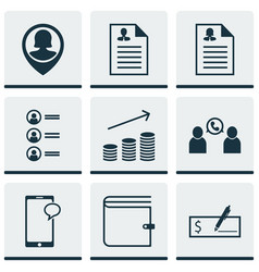 Set of 9 human resources icons includes bank vector