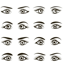 Set of black icons of eyes and brows vector