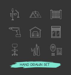 set of interior design icons line style symbols vector image