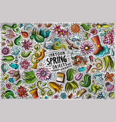 set spring theme items objects and symbols vector image
