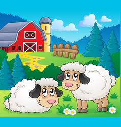 sheep theme image 1 vector image
