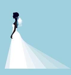 silhouette portrait of a young bride in a profile vector image