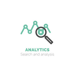 simple icon analytics flat bicolor line vector image