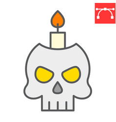 Skull with candle color line icon halloween and vector