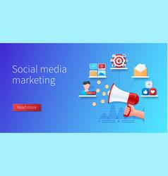 social media marketing banner hand vector image