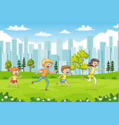 Some children are running through a park vector