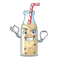 Successful homemade tasty banana smoothie on vector