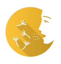 Summer allergy flat design long shadow glyph icon vector