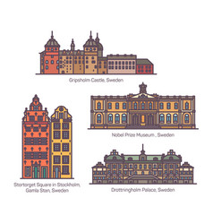 Sweden famous architecture landmarks in thin line vector