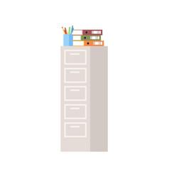 Tall cabinet semi flat rgb color vector