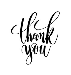 Thank you black and white hand lettering vector