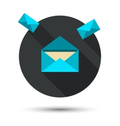 The mail icon with long shadow vector image