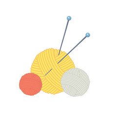 Three colored cartoon balls of yarn with knitting vector