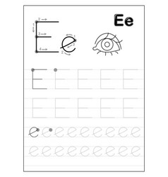 tracing alphabet letter e black and white vector image