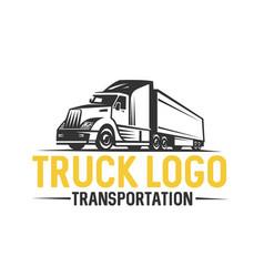 truck logo transportation monochrome style vector image