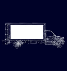 truck wireframe of white lines on a dark vector image