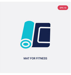 Two color mat for fitness icon from gym and vector