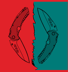 Two contour folding knives on colorful background vector