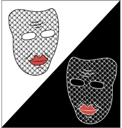 Two masks on white and black background vector