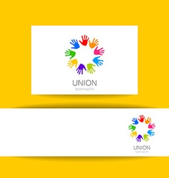 union hands teamwork logo template vector image