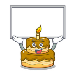up board birthday cake character cartoon vector image