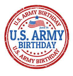 us army birthday grunge rubber stamp vector image