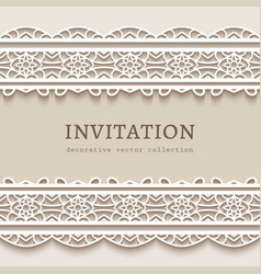 vintage frame with lace borders vector image