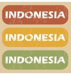 Vintage Indonesia stamp set vector