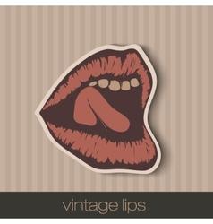 vintage paper lips vector image