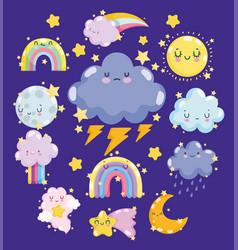 weather cute sun cloud storm rain thunder rainbow vector image