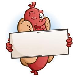 winking hot dog cartoon character holding a sign vector image