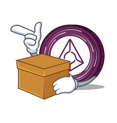 with box augur coin character cartoon vector image