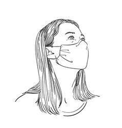 Woman wearing medical face mask and looking vector
