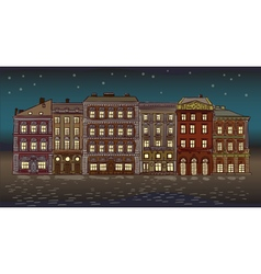 Antique European street Night Summer city landscap vector image vector image