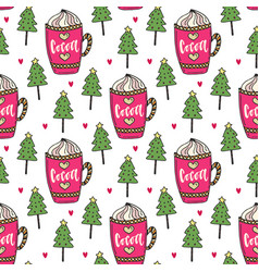 cocoa background with winter trees sweet seamless vector image vector image
