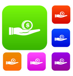 dollar in hand set collection vector image