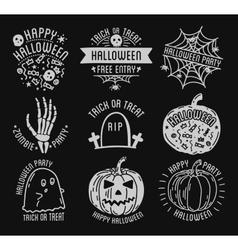 Happy Halloween logo with curving pumpkins vector image