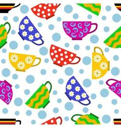 seamless pattern with colorful cups vector image vector image